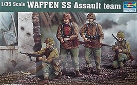 Trumpeter 1/35 kit 00405  WW2 German Waffen Assault Team Figures image 1