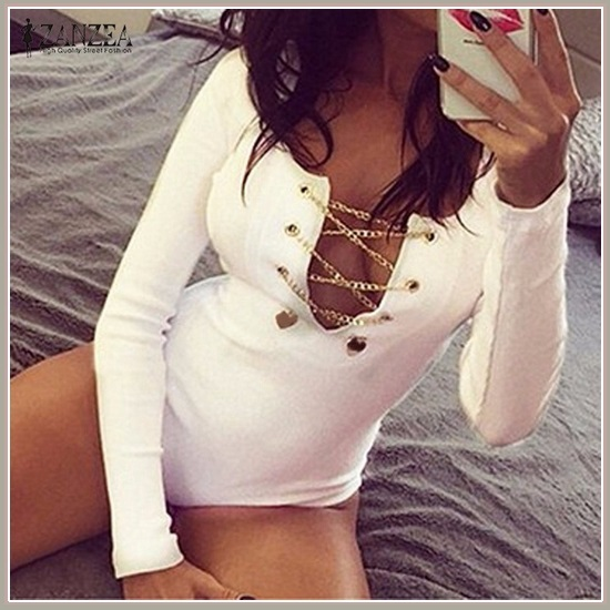 White Red and Midnight Black Sexy Deep V Lace Up Long Sleeve Bodysuit Romper
