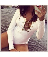 White Red and Midnight Black Sexy Deep V Lace Up Long Sleeve Bodysuit Ro... - $38.95