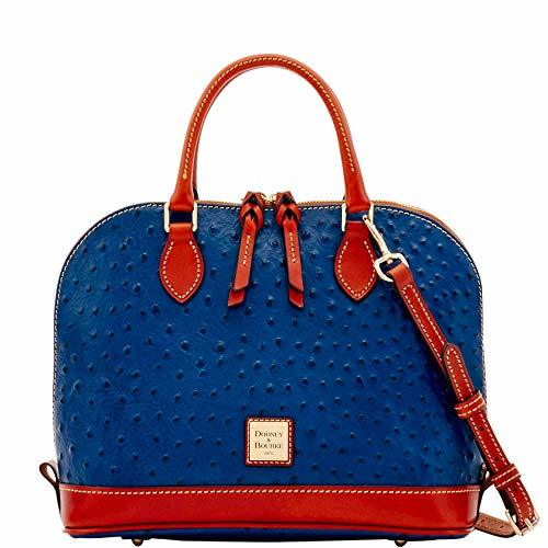 Dooney & Bourke Ostrich Zip Zip Satchel Midnight Blue