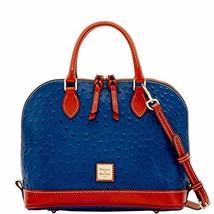 Dooney & Bourke Ostrich Zip Zip Satchel Midnight Blue