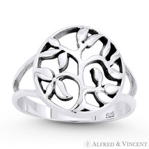 Tree w/ Filigree Vine & Leaf Circle Charm Statement Ring in .925 Sterling Silver - $25.59