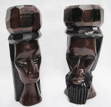 "Wooden Head Busts Hand Carved in Jamaica Man and Woman Set of 2 7.5"" Tall - $26.13"