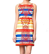 Anthropologie Banded Totem Sheath Dress Petite 10 PL Embroidered Bright ... - $75.65