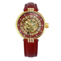 FORSINING Vintage Elegant Women Watch Automatic Mechanical Red Leather Strap Gol image 6