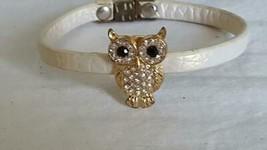 """6.5""""VINTAGE Rhinestone Owl Bird Band Bracelet,Goldtone 7/8""""SLIDING Bead,Off Whit - $4.94"""