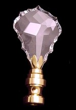 Crystal & Brass Lamp Finial 2 7/8in Faceted & Beveled - $20.95