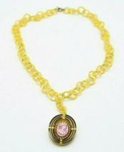 Art Deco Bovine Bone Faux Pearl Cameo Pendant Necklace Vintage - $49.49