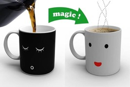 Morning Wake Up Mug Change Color Heat Cold Sensitive Cup Face Coffee Mil... - $12.09