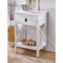 Hampton Glossy White Accent, End Table Night Stand w/ Drawer and Shelf - $121.20