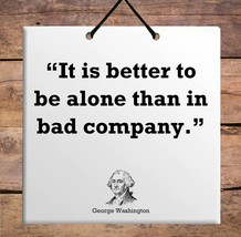 George Washington tablet Quote Wooden Wall Hanging TILE Plaque Home Decor Gift - $17.77