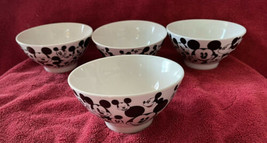 4 Disney Mickey Mouse Faces Ceramic Soup /Cereal /Rice Bowls New Black &... - $59.99