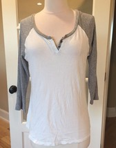 White Gray Top Baseball Shirt Cotton Fits M L Womens - $5.99