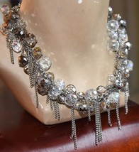 """Jessica Simpson Necklace Silver Tone Metal Chains Faceted Glass Crystal 19"""" L - $34.99"""