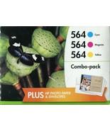 3 Genuine HP 564 Color +Photo Paper+Envelope DeskJet 3520 3521 3522 (Ret... - $8.90