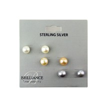 Brilliance Fine Jewelry Sterling Silver Trio Freshwater Pearl Earring Studs - $18.99
