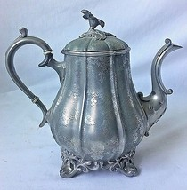 Reed and Barton Etched Teapot Coffee Pot w Flower Finial Grapevine Pewte... - $98.99