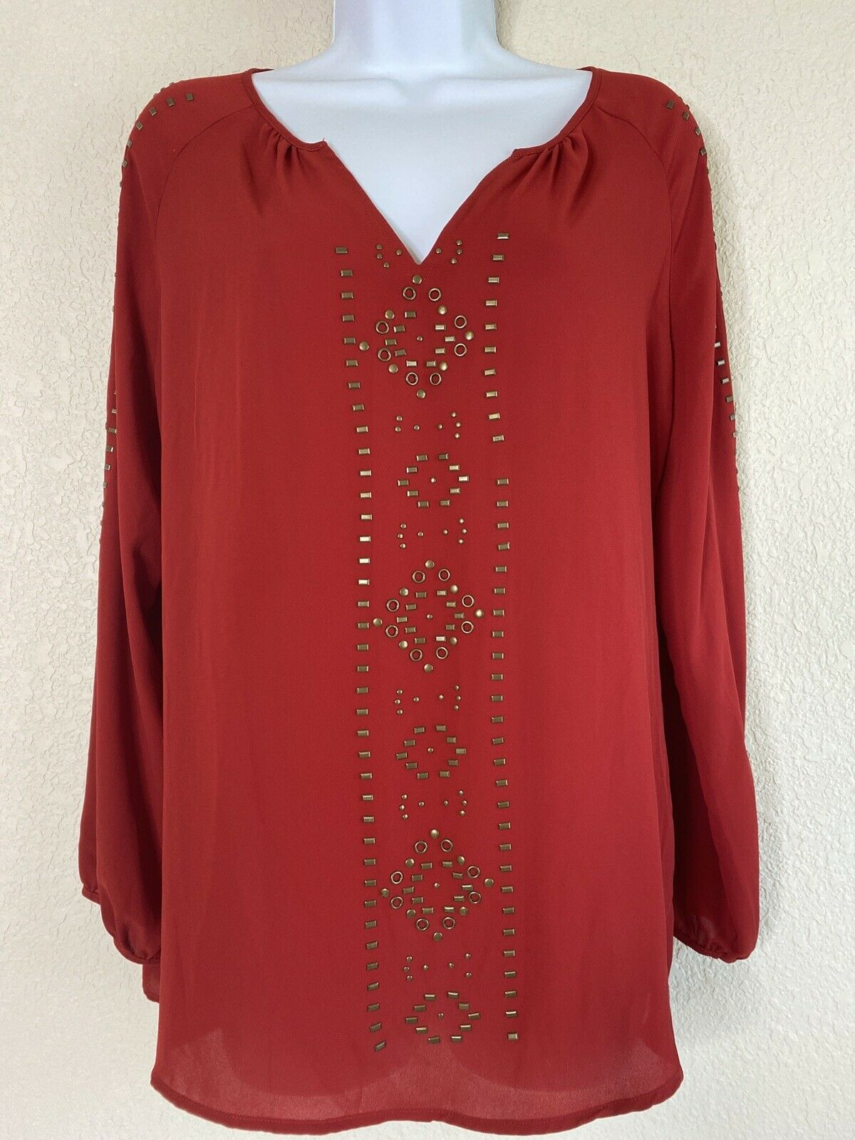 Primary image for Roz & Ali Womens Size M Red Gromet Embellished Blouse 3/4 Sleeve