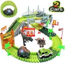 Bdwing Dinosaur Race Car Track Toys, Flexible Assembly Car Tracks Train Set for