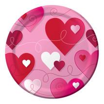"""Hearts Swirls Valentines Day Party  8 7"""" Dessert Cake Plates - $3.69"""