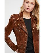 Woman Handmade Brown American Western Were Golden Studded Suede Leather ... - $269.99