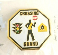 Vintage Crossing Guard Traffic Light Stop Sign Road Safety Octagon Ename... - $13.00