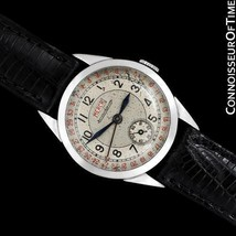 1938 JAEGER-LECOULTRE Vintage Mens Double Date 2701 SS Watch - Rare & Or... - $3,131.10