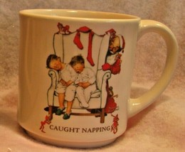 Hallmark Norman Rockwell Coffee Mug Caught Napping Christmas Cup Vintage... - $10.88