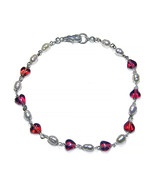 """Pearls/Red 6mm Glass Hearts Sterling Silver Chain 8"""" Bracelet - $36.99"""