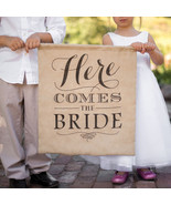 Rustic Here Comes the Bride Printed Ecru Linen Banner Wedding Accessory - €56,69 EUR