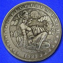 "Halloween Witch ""Hobo Nickel"" on Morgan Dollar Coin ** - $4.79"