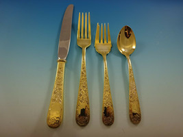 Old Maryland Engraved Gold Kirk Sterling Silver Flatware Service 8 Set V... - $3,195.00