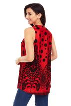 Red Black Floral Print Flowy Tank Top - $15.25