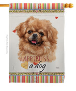 Tibetan Spaniel Happiness - Impressions Decorative House Flag H110227-BO - $40.97
