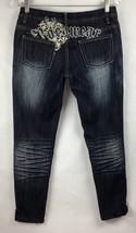 RocaWear Womens Juniors Size 7 Jeans Dark Wash Distressed Embellished Skinny - $19.87