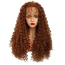Wiginway Synthetic Lace Front Long Afro Kinky Curly Wigs For Women Light Auburn