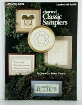 Cross Stitch Charted Classic Samplers Jeanette Stone Crews Leisure Arts Leaflet - $3.99