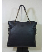 NWT Tory Burch Black Pebbled Leather Marion NS Slouchy Tote $595 - $542.52