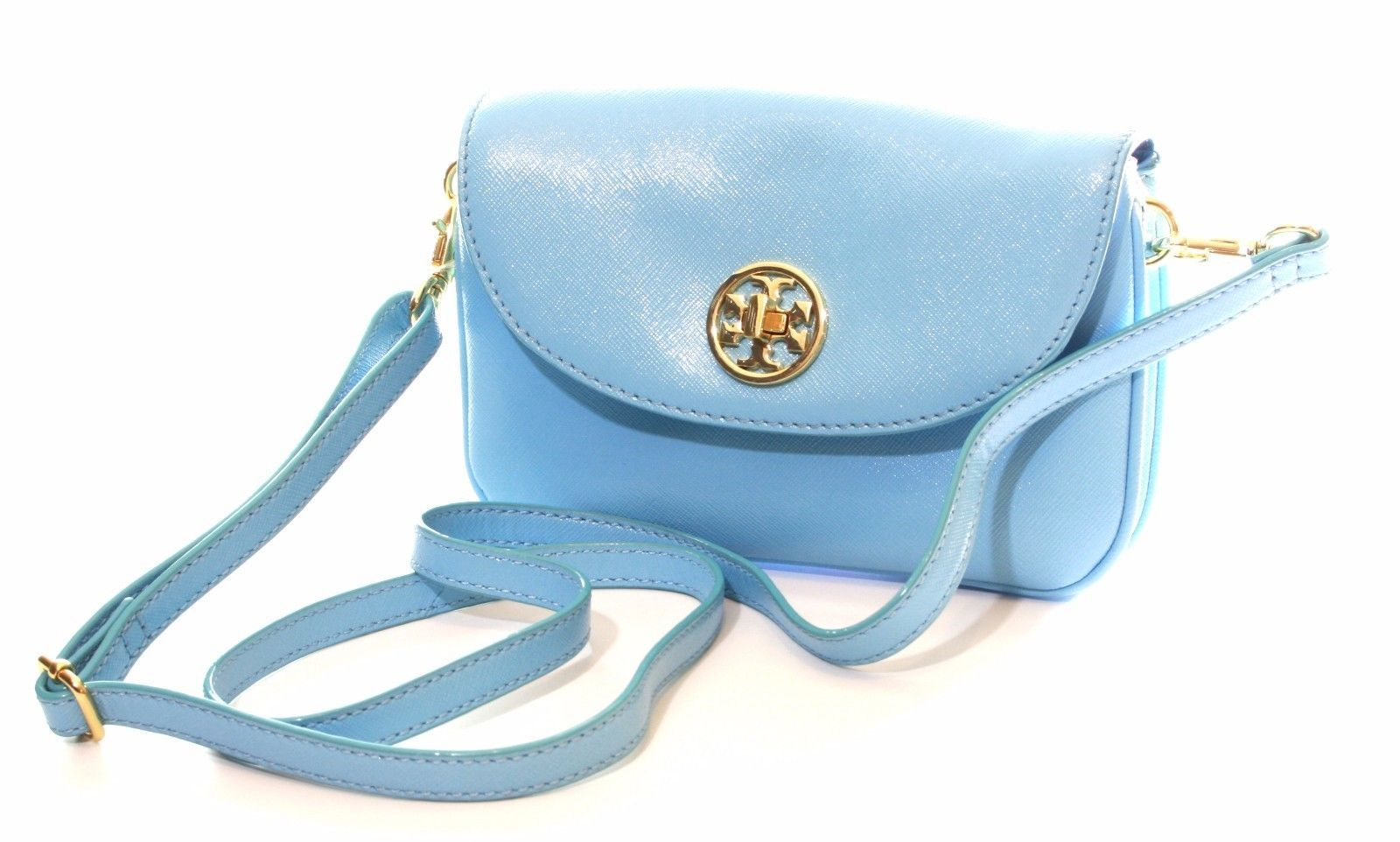 Primary image for Tory Burch Robinson Cross Body Bag Morning Sky Light Blue Small Handbag
