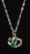 Heart Chrystal Green Rhinestone Silver Necklace 5319 - $11.99
