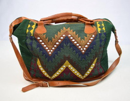 Vtg 90s Southwestern Textile Leather Tote Bucket Shoulder Beach Bag Satc... - $38.60