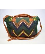 Vtg 90s Southwestern Textile Leather Tote Bucket Shoulder Beach Bag Satc... - $38.60