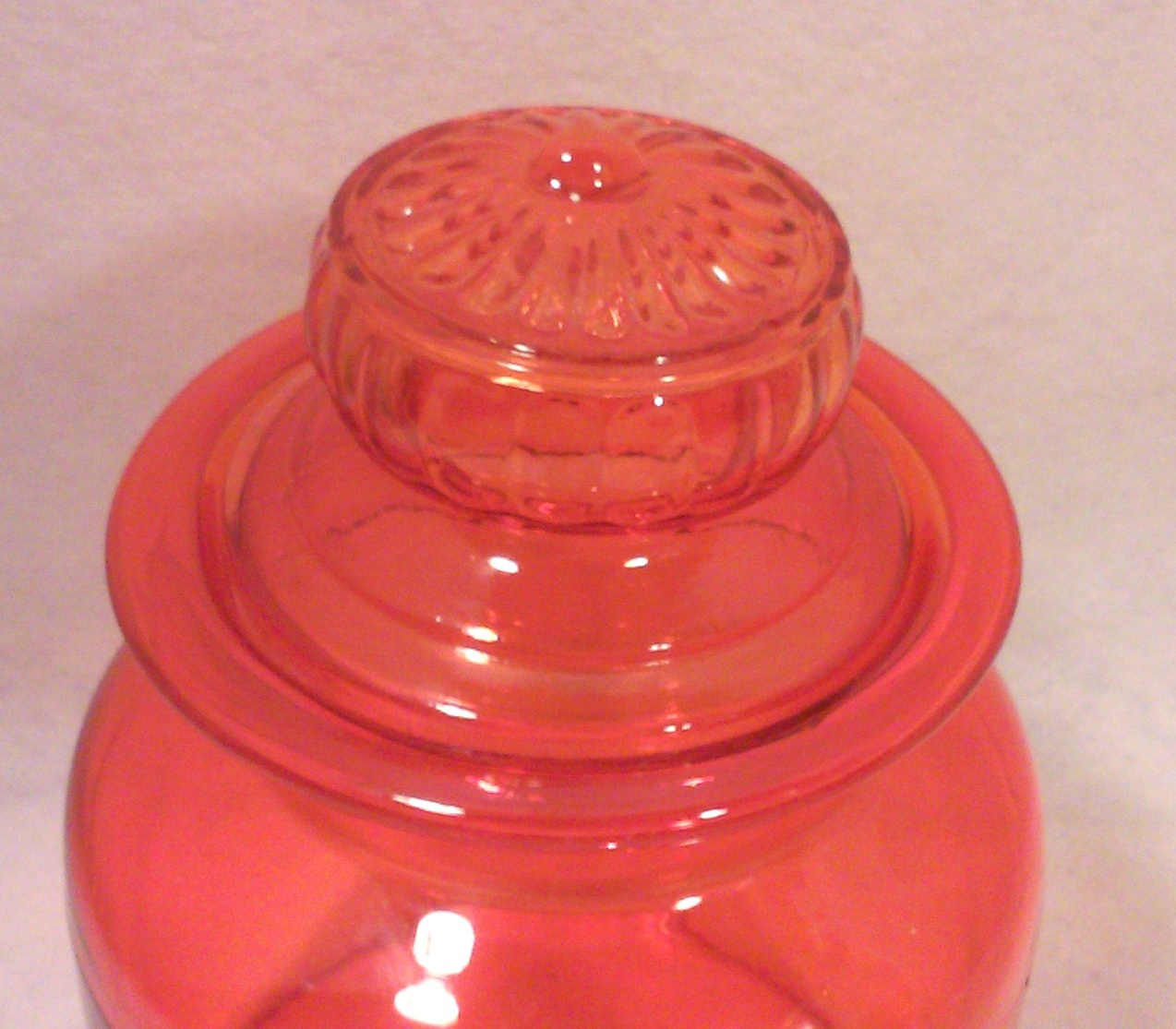 Mid-Century Modern Orange Glass Kitchen Canister Jar-70s Partridge Family