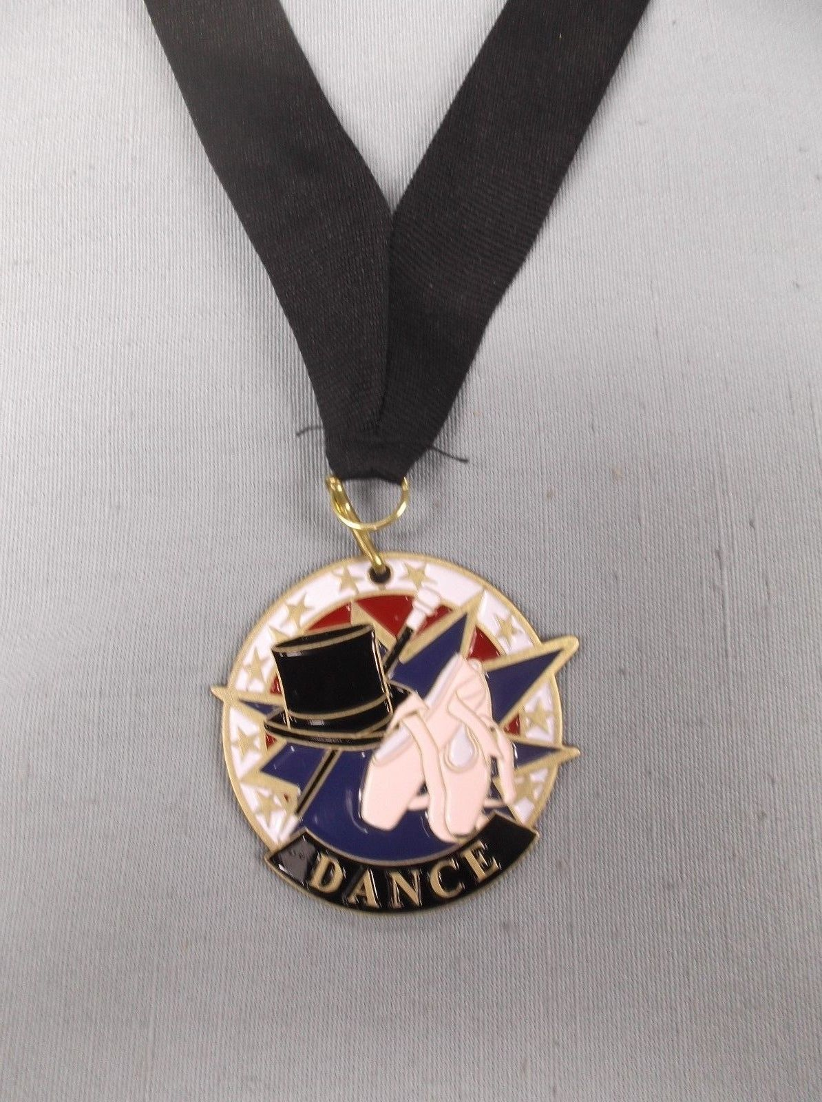 tap dance trophy award red white blue enameded medal with neck ribbon