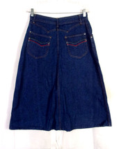 vtg 70s Sportswear Ladies Dark Wash Indigo Denim Jean Skirt Hippy Boho s... - $18.89