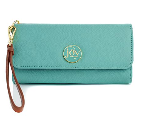 Primary image for JOY Luxe Genuine Leather Trifold Wallet with RFID Protection, Mint Green