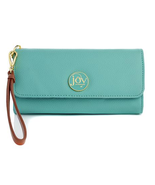 JOY Luxe Genuine Leather Trifold Wallet with RFID Protection, Mint Green - £22.67 GBP