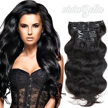 viviaBella Clip ins Human Hair Extensions Body Wave Human Hair 18 Inches 70 Gram