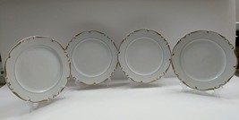 Chatham by Amcrest China 4 Bread & Butter Plates White with Gold Scrolls... - $26.92