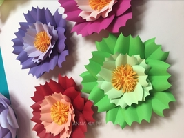 4 pcs Paper flowers for window display, Wedding Backdrop,office wall AXH032 - $16.89+